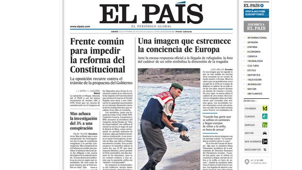 Portada del periódico español 'El País' del 3 de septiembre.