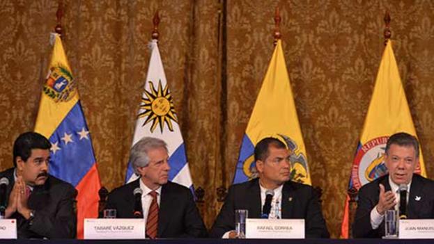 Al término de la reunión de más de cuatro horas en la sede de la Presidencia de Ecuador, los presidentes divulgaron una declaración conjunta en la que anunciaron siete acciones para reactivar las relaciones bilaterales. (Efrain Herrera- SIG)
