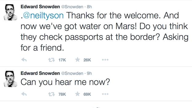 Primeros tuits de la cuenta de Edward Snowden. (Twitter)