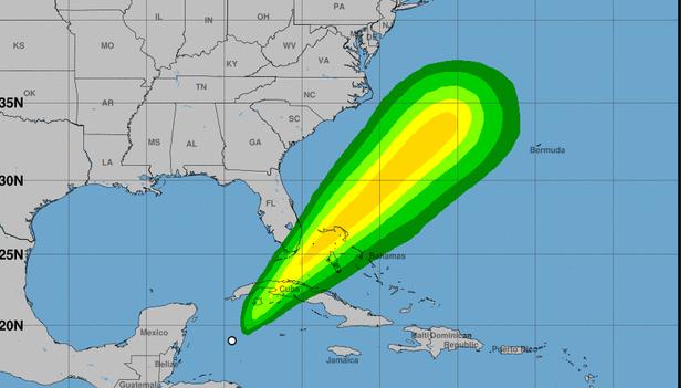Pronóstico del área de lluvias del Centro Nacional de Huracanes en Estados Unidos. (CC)