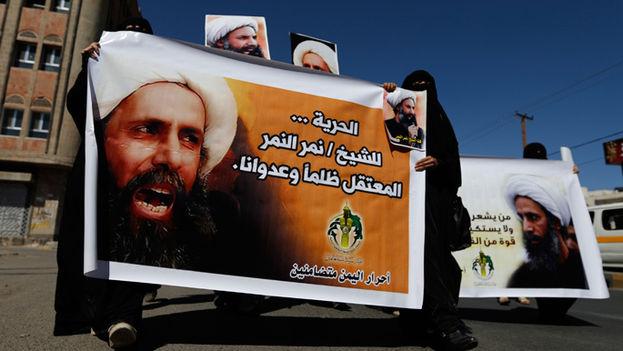 Protesta de la comunidad chií por la liberación de Nimr Baqir al Nimr. (RT)