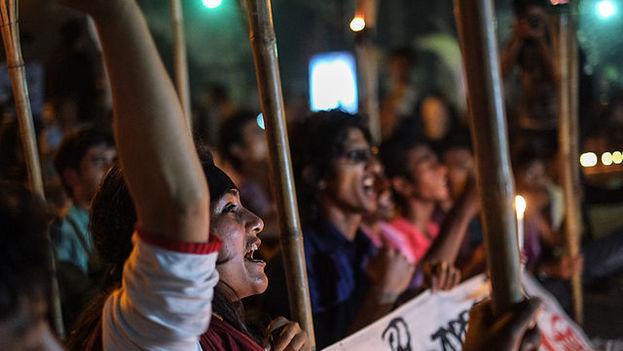 Protestas del movimiento Gonojagoron Moncho, del que Bijoy Das era representante, en Dacca en 2013. (Mehdi Hasan Khan/Flickr)
