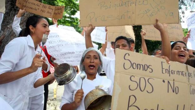 Protestas de enfermeros en Venezuela. (EFE)