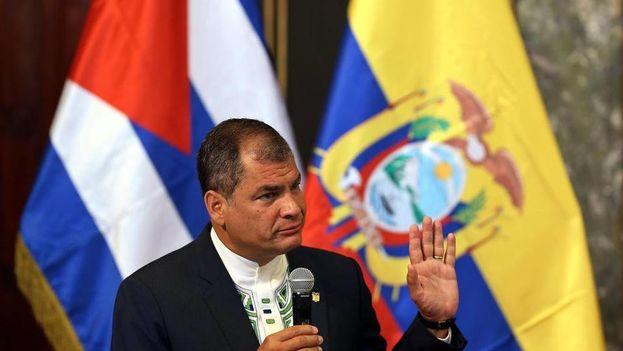 Rafael Correa en el aula magna de la Universidad de La Habana. (EFE)
