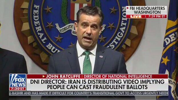 """Ratcliffe también denunció que Teherán está distribuyendo un vídeo """"que sugiere que individuos pueden votar de forma fraudulenta"""", algo que según dijo """"no es cierto"""". (Captura)"""