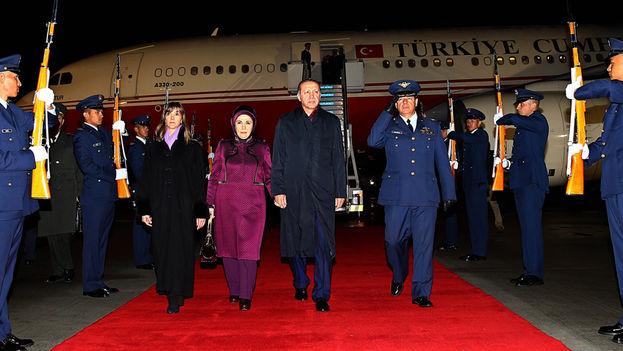El presidente turco, Recep Tayyip Erdogan, en su viaje a Colombia. (Presidencia de Turquía)