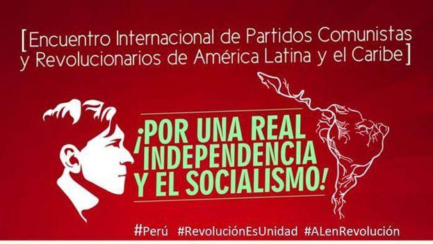 Cartel de la Reunión de Partidos Comunistas y Revolucionarios de América Latina celebrado en Lima.