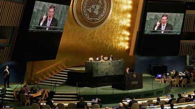 El canciller cubano, Bruno Rodríguez, en su intervención ante la 70ª Asamblea General de la ONU. (Minrex)