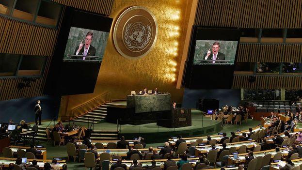 El canciller Bruno Rodríguez defiende en la Asamblea General de la ONU la resolución contra el embargo a la que este 2016 ningún país votó no. (@Minrex)