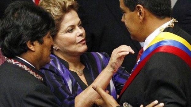 Dilma Rousseff, Evo Morales y Nicolás Maduro durante la toma de posesión de este último en Caracas. (EFE)