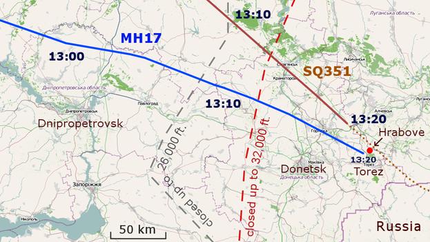 Ruta del vuelo MH17de Malaysia Airlines y lugar en que fue derribado. (CC)