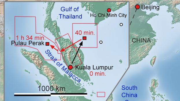 Ruta del vuelo Malaysia Airlines MH370 y zona donde se ha realizado la búsqueda (CC)