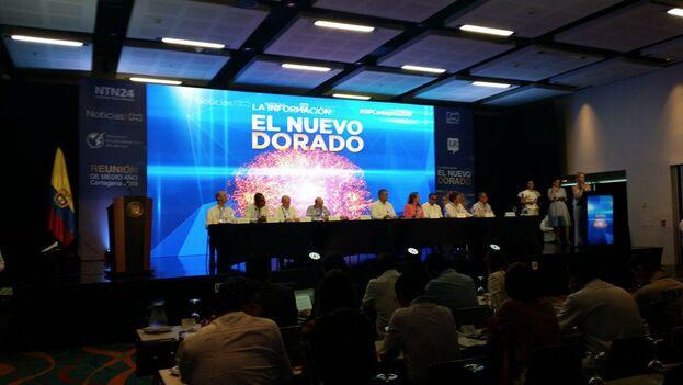 La inauguración de la reunión de medio año de la SIP en Cartagena de Indias, con la participación del presidente colombiano Iván Duque. (Henry Constantín)