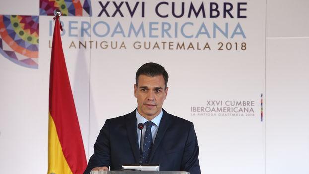 Pedro Sánchez durante la  XXVI Cumbre Iberoamericana celebrada la pasada semana en Guatemala. (Moncloa)