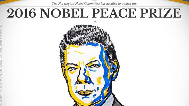 """Santos se alza con el galardón por """"sus esfuerzos para la finalización de un conflicto de más de 50 años"""". (@NobelPrize)"""