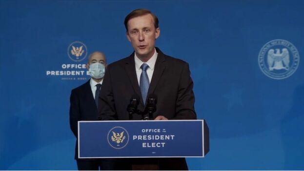 Captura de pantalla de Jake Sullivan, elegido por Joe Biden como asesor de Seguridad Nacional durante una conferencia de prensa en Wilmington, Delaware. (EFE/Office of the President Elect)