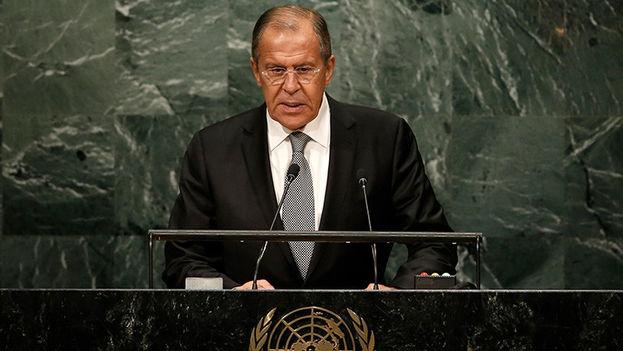 El ministro de relaciones exteriores de Rusia, Serguei Lavrov habla ante la Asamblea General de las Naciones Unidas. (Twitter)