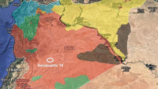 Situación del aeropuerto sirio presuntamente bombardeado este lunes.