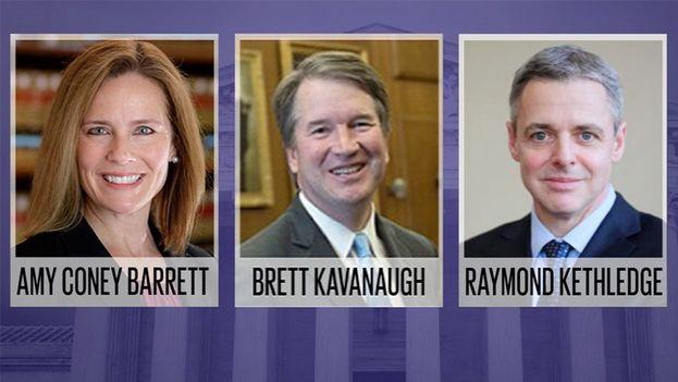 Entre la prensa local, los tres nombres de entre los que se cree que saldrá el nuevo juez del Supremo son los de Kavanaugh, Barrett y Kethledge. (Fox31)