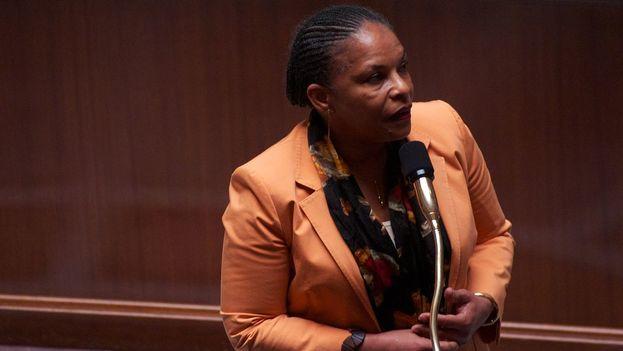 Taubira durante su discurso de defensa del matrimonio igualitario en la Asamblea Nacional en 2013. (CC/Wikipedia)