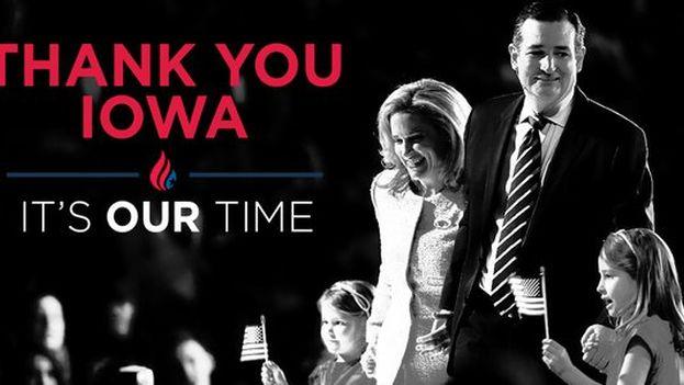 Ted Cruz agradeció a sus votantes la victoria en Iowa. (@tedcruz)