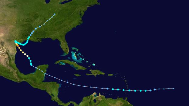Trayectoria del huracán 'Harvey' en Norteamérica en agosto de 2017. (NASA)