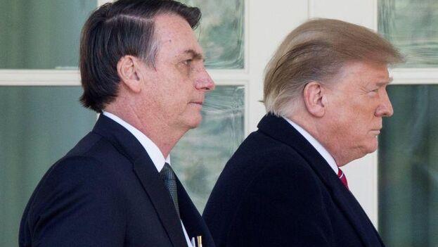 Trump y Bolsonaro emitieron un comunicado conjunto al término de una cena privada de trabajo que tuvo lugar este sábado en Mar-a-Lago. (EFE)