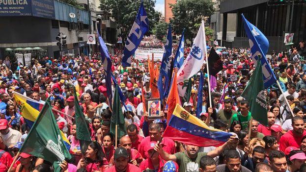 El chavismo se movilizó este lunes contra las amenazas de Trump de una intervención militar y para apoyar a sus candidatos a las regionales. (PSUV)