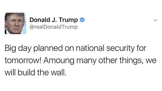 Trump utilizó su cuenta personal para anunciar que este miércoles tomará medidas en torno al anunciado muro con México. (@realDonaldTrump)