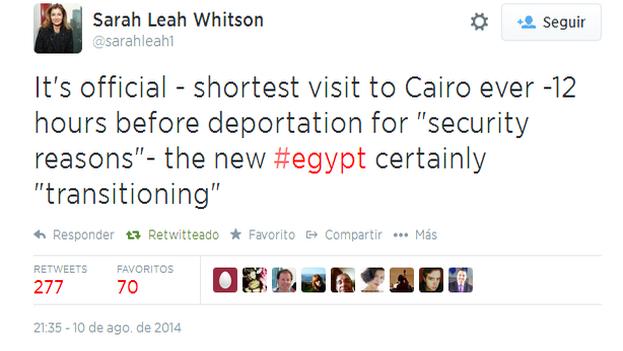 Tuit de la respondable de HRW Sarah Leah Whitson.
