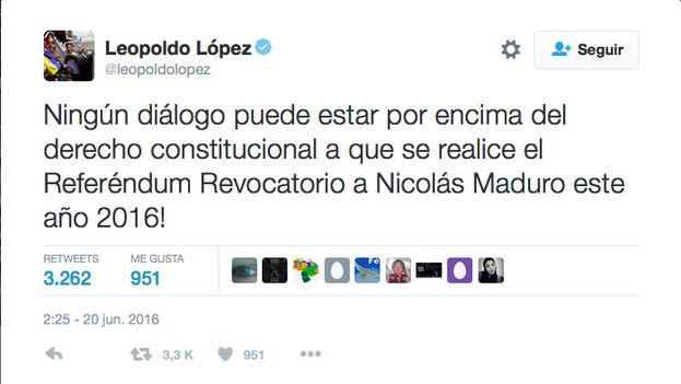 Tuit de Leopoldo López volviendo a rechazar el diálogo con el Gobierno de Maduro. (@leopoldolopez)