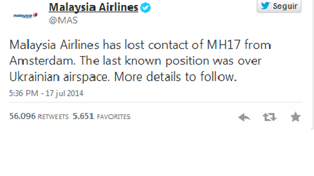 Tuit de Malaysia Airlines