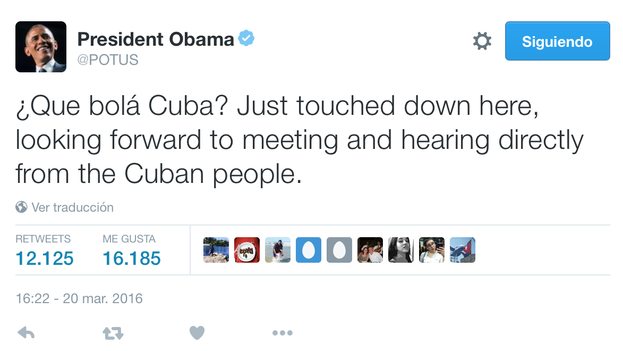 Tuit de Barack Obama al aterrizar en La Habana