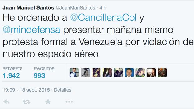 Tuit del Presidente Santos sobre intervención aérea venezolana. (Twitter)