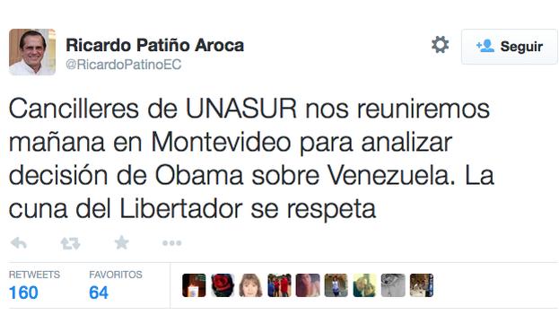 Tuit de Ricardo Patiño este miércoles acerca de la situación en Venezuela. (@RicardoPatinoEC)