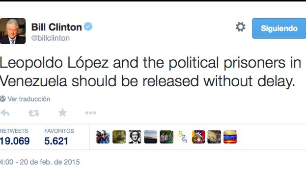 Tuit del expresidente estadounidense Bill Clinton pidiendo libertad para los presos políticos
