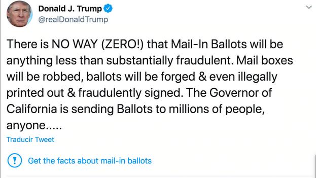 Tuit verificado de Trump por la empresa de San Francisco.
