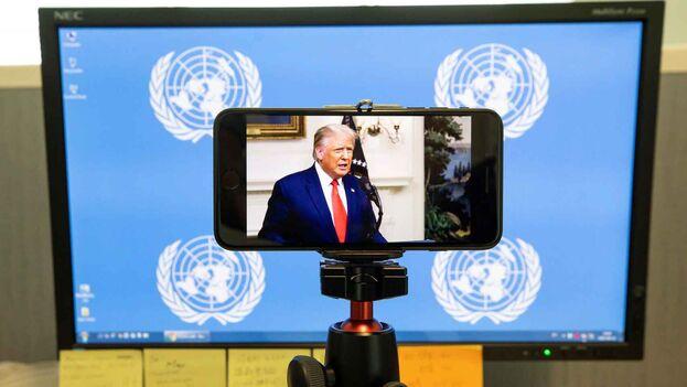 El presidente de Estados Unidos, Donald Trump, durante su intervención en 75 Asamblea General de la ONU, en Nueva York. (EFE/Justin Lane)