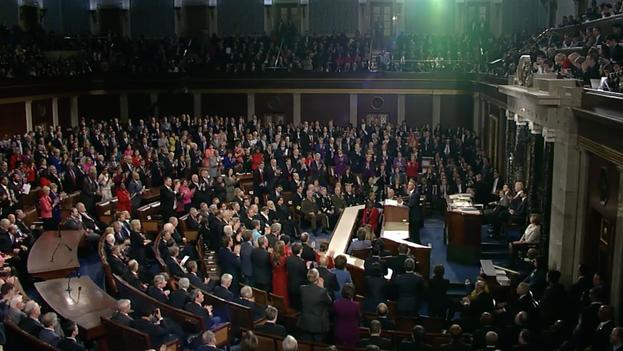 El presidente de Estados Unidos, Barack Obama, durante su discurso sobre el estado de la Unión este martes. (Captura de pantalla)