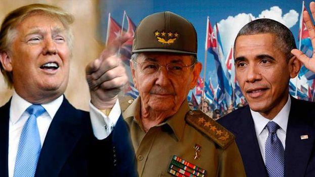 El presidente electo de Estados Unidos, Donald Trump, Raúl Castro y Barack Obama. (Montaje redes sociales)