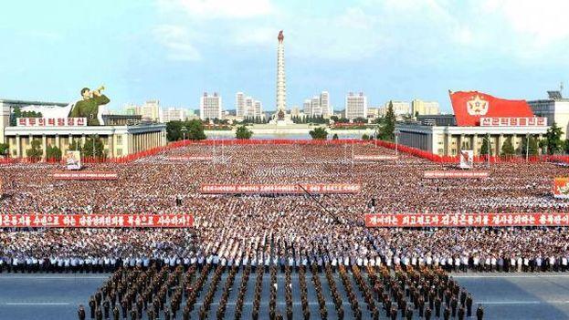 La principal manifestación contra Estados Unidos se celebró el pasado miércoles en la plaza Kim Il-sung de Pyongyang. (Fotograma)