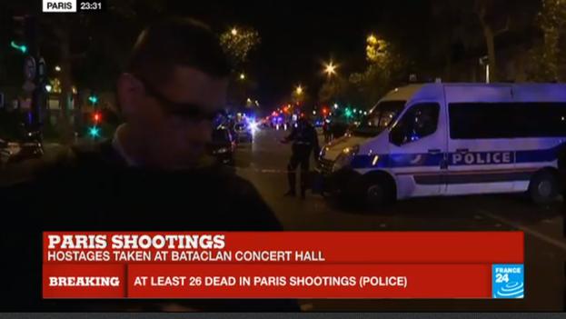 Varios tiroteos y explosiones tuvieron lugar la noche de este viernes en París. (Captura de pantalla/France 24)