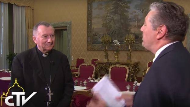 El secretario de Estado del Vaticano, Pietro Parolin, en una entrevista al Centro Televisivo Vaticano.