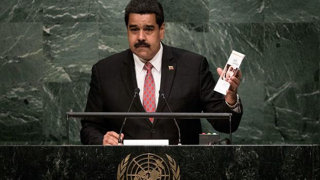El presidente de Venezuela, Nicolás Maduro, se dirige a la Asamblea General de la ONU. (ONU/Kim Haughton)