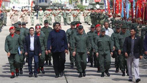 El presidente de Venezuela, Nicolás Maduro, en un acto de las Fuerzas Armadas el sábado. (Palacio de Miraflores)