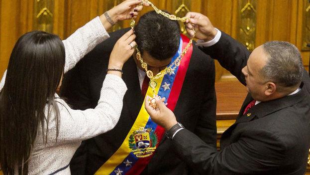 El presidente de Venezuela, Nicolás Maduro, durante el acto de toma de posesión de su cargo. (EFE Archivo)