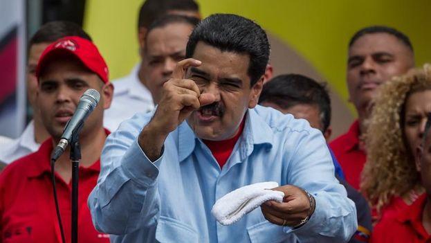El presidente de Venezuela, Nicolás Maduro, en un mitin este martes. (EFE/Miguel Gutiérrez)