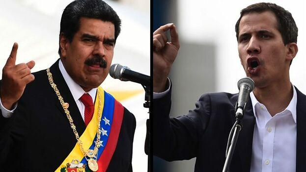 El gobernante de Venezuela, Nicolás Maduro, y el presidente interino, Juan Guaidó. (Cortesía).
