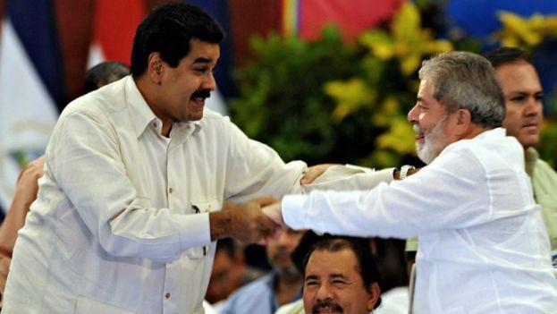 El presidente de Venezuela, Nicolás Maduro y el expresidente brasileño, Luis Ignacio Lula Da Silva. (EFE)
