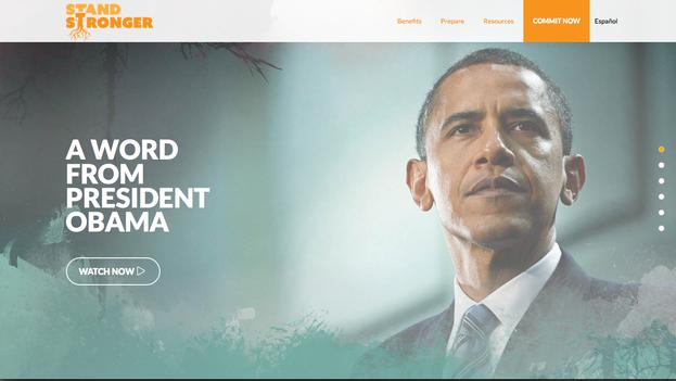 Vídeo de Barack Obama en la página web de Stand Stronger
